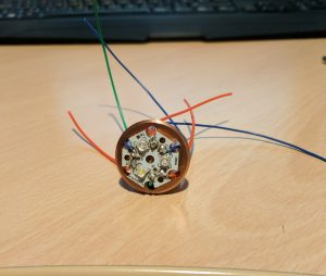 Lightsaber LED with wires soldered on, ready to be connected to the sound board.