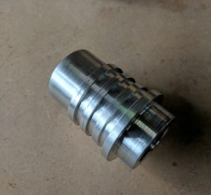 Lightsaber 'emitter' after it has been turned on the lathe and given a light polish